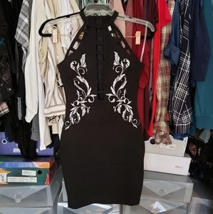 Embroidered and caged bodycon dress